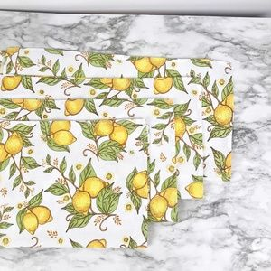 Now Designs | Vintage Fabric Napkins W/Lemons (4)